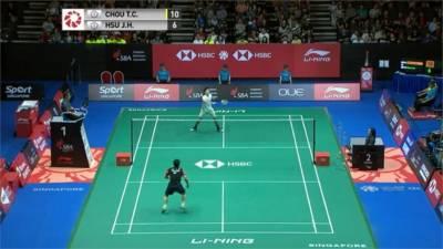 新加坡羽球公開賽 台灣內戰周天成奪冠