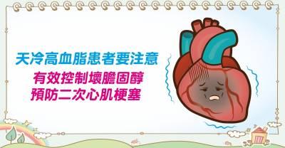 天冷急性冠心症患者要注意! 有效控制壞膽固醇預防二次心肌梗塞!