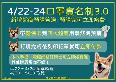 【4月22日】口罩實名制3.0上路 網路超商皆可訂購