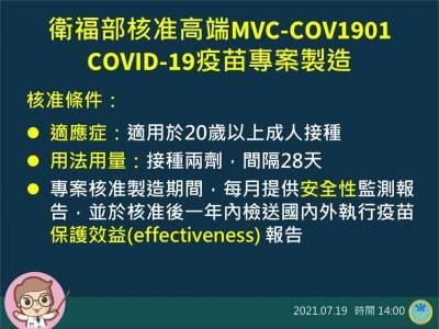 快新聞/高端COVID-19疫苗獲准製造! 20歲以上打兩劑間隔28天