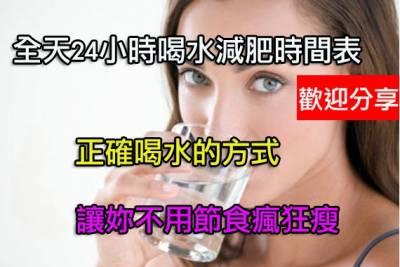 全天24小時喝水減肥時間表 不用節食瘋狂瘦
