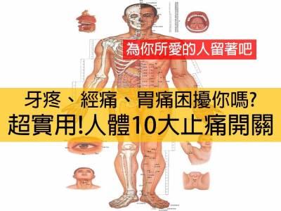 超實用 人體10大止痛開關,為你所愛的人留著吧
